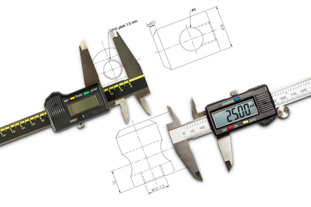Digital vernier calipers, isolated on drawing background