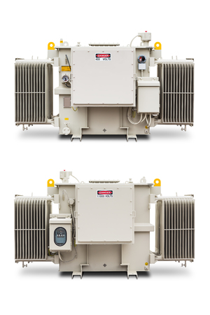 hermetic: Three phase (1500 kVA) radiator fin hermetic sealed type with nitrogen gas cushion oil immersed transformer, isolated on white background
