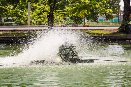 remediation: Paddlewheel water aeration is used to increase dissolved oxygen in water in the pond