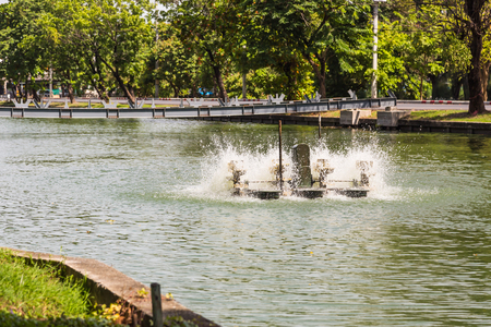 Paddlewheel water aeration is used to increase dissolved oxygen in water in the pond