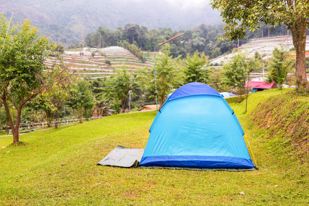 Dome tent on campsite in Doi Inthanon, Chiang Mai province, Thailand