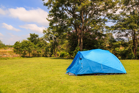 Blue dome tent on green grass campsite in Wang Nam Khiao, Thailand
