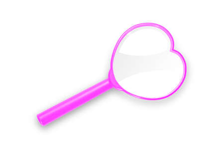 Close up of heart shape pink magnifying glass, isolated on white background with clipping path, love and valentine concept Stock Photo