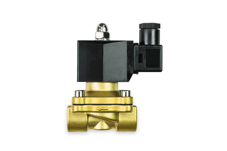 Close up of 24 VDC pilot operated brass body solenoid valve, isolated on white background with clipping path Reklamní fotografie