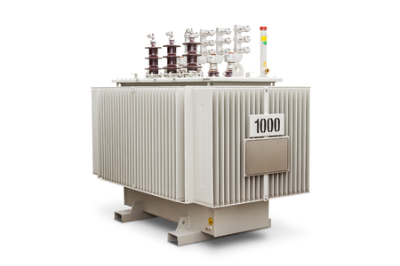 Three phase 1000 kVA corrugated fin hermetically sealed type oil immersed transformer, isolated on white background with clipping path