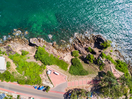 Aerial view from drone of Nang Phaya Hill Scenic Point where to see the clear turquoise sea in Chanthaburi, Thailand