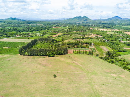 Aerial view from drone of the grassy slope in rural Thailand