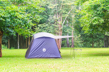 Blue family tent at campsite at Ban Krang Camp in Kaeng Krachan National Park, Thailand