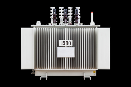Three phase transformer, 1500 kVA dual system voltage (12000 and 24000 V) corrugated fin hermetically sealed type oil immersed, isolated on black background with clipping path