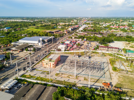 Aerial view of electrical substation in rural area, Thailand Stock Photo