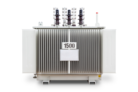 Three phase transformer, 1500 kVA dual system voltage (12000 and 24000 V) corrugated fin hermetically sealed type oil immersed, isolated on white background with clipping path