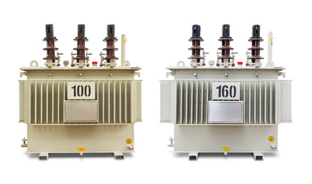 Three phase (100 and 160 kVA) corrugated fin hermetically sealed type oil immersed transformers, isolated on white background with clipping path