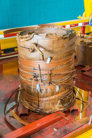 Damage paper insulated rectangular wire round winding (coil) of oil immersed transformer Reklamní fotografie