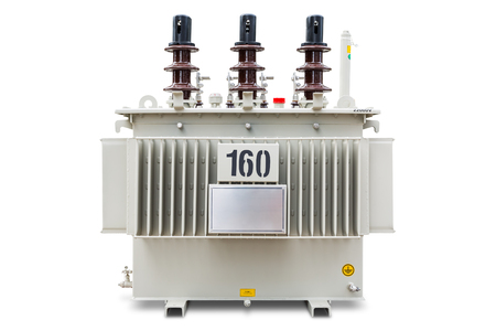 Three phase (160 kVA) corrugated fin hermetically sealed type oil immersed transformer, isolated on white background with clipping path