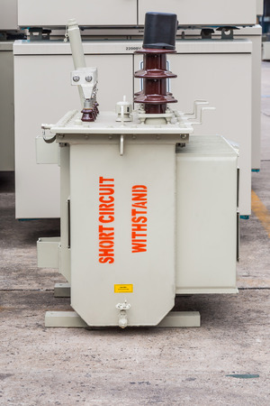 """Three phase (100 kVA) pole mounted corrugated fin oil immersed transformer with """"short circuit withstand"""" marking on the tank Reklamní fotografie"""