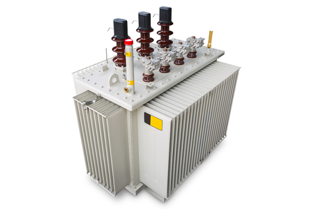 Three phase (630 kVA) corrugated fin hermetically sealed type oil immersed transformer, isolated on white background with clipping path