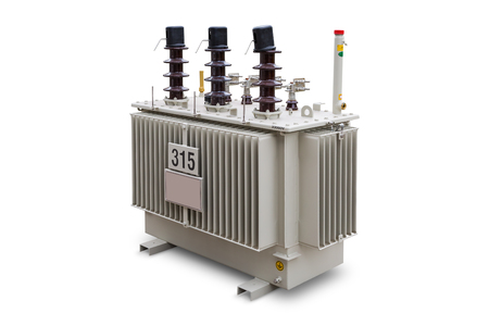 Three phase (315 kVA 33kV) corrugated fin hermetically sealed type oil immersed transformer, isolated on white background with clipping path