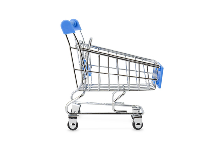 Blue handel empty shopping trolley (cart), isolated on background with