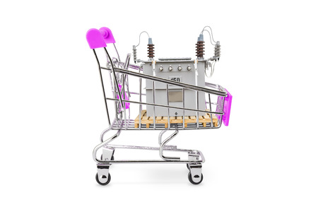 Pink color handel shopping trolley (cart) with 150 kVA oil immersed CSP type transformer in the cart, isolated on background with