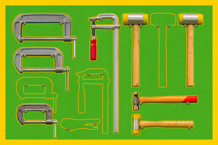 Shadow board for C-clamps ,F-clamps, hammers and locking pliers, some tools are absent from board