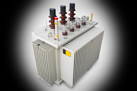 Three phase (630 kVA) corrugated fin hermetically sealed type oil immersed transformer, isolated on gradient background with Reklamní fotografie