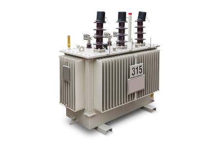 Three phase (315 kVA 33kV) corrugated fin hermetically sealed type oil immersed transformer, isolated on background with