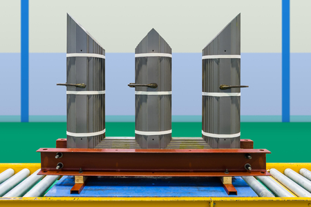 Interleaved step lap core of three phase transformer in assembly line made of cold rolled grain oriented (CRGO) steel