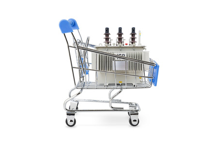 Blue color handel shopping trolley (cart) with 160 kVA oil immersed transformer in the cart, isolated on white background with clipping path Reklamní fotografie
