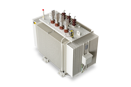 Three phase (2500 kVA) corrugated fin hermetically sealed type oil immersed transformer equipped with DGPT (Detection of Gas, Pressure and Temperature), isolated on white background with clipping path 免版税图像
