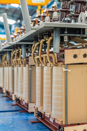 Complete internal active parts (core and coils) of three phase distribution oil immersed transformer during in production line