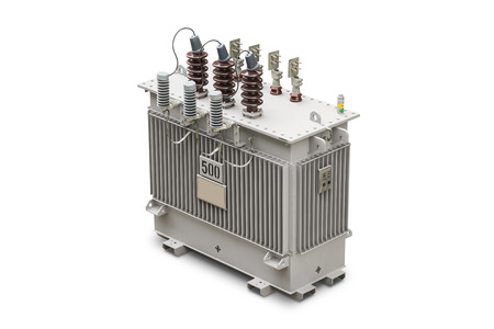 Three phase (500 kVA) hermetic sealed type with nitrogen gas cushion oil immersed transformer, isolated on white background with clipping path