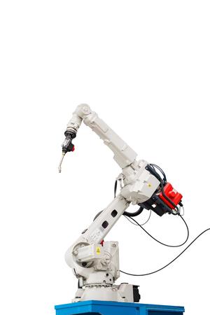 Robotic arc welding machine in smart factory in metalwork industry 스톡 콘텐츠