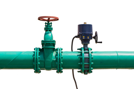 Combination of manual operated gate valve and quarter-turn electrical actuator operated valve in water pipeline for water treatment system, isolated on white background with clipping path