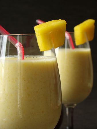 Typical Indian refreshing fruity soft drink called Mango Lassi.