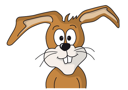 Cartoon drawing of a funny bunny face which looks forward to Easter. Vector
