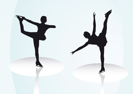 changed: Figure skating outlines which are also as vector file available. Size and colors can be changed. Illustration