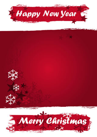 Christmas banner with symbols and wishes in red grunge design. Also as vector file available. Size and color can be changed. Vector