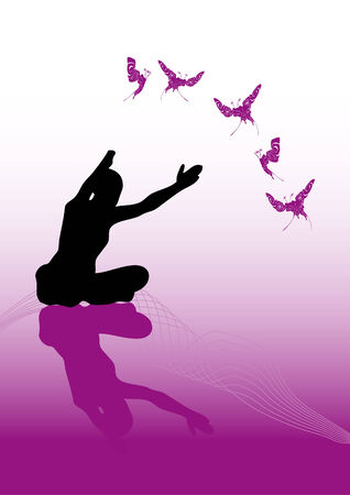 showing a black silhouette practice yoga in front of a graded background. Size and color can be changed. Vector