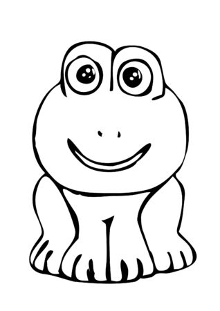 line drawings: file showing a simplyfied frog drawing in black and white which can be used as picture to color.