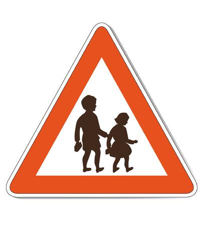 Rood wit gekleurde kinderen waarschuwing die ook als vector bestand beschikbaar is. Grootte en kleuren kunnen worden gewijzigd. Stock Illustratie