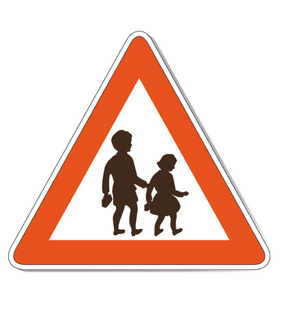 Red white colored children warning sign which is also as vector file available. Size and colors can be changed.