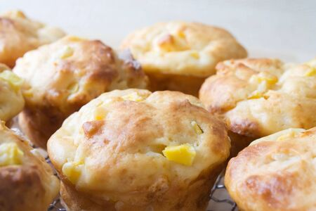 Selective focus image of a tray with mango muffins Stock Photo - 6340547