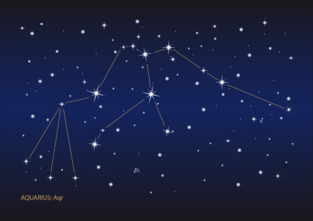 Illustration showing the aquarius constellation