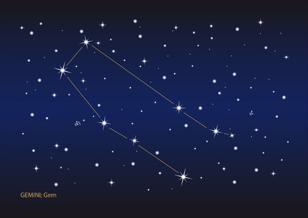 Illustration showing the gemini constellation Illustration
