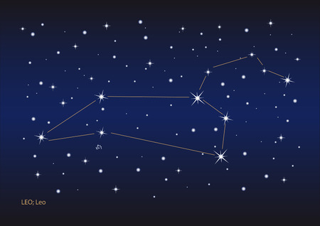 Illustration showing the leo constellation Illustration