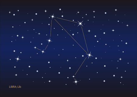 Illustration showing the libra constellation Vector