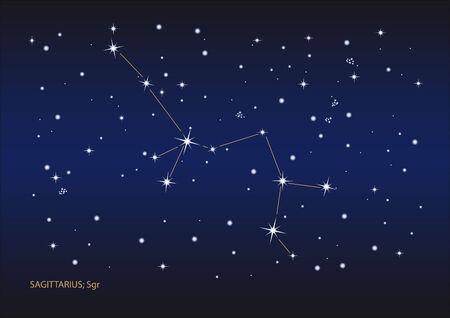 Illustration showing the sagittarius constellation Vector