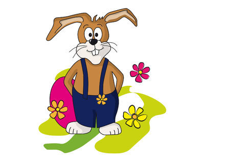 rabbit standing: Cartoon drawing of a funny Easter bunny wearing a blue  dungarees. Illustration