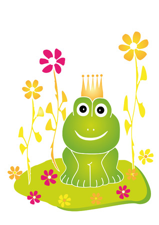 Naive illustration of the frog king sitting on a flower meadow. Vector