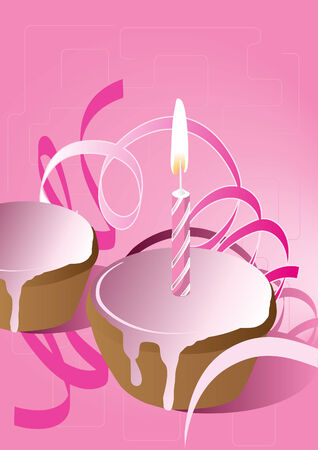 Illustration of a muffin with pink icing and a candle, suitable for birthday, Valentine Day or celebrate a jubilee Vector